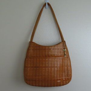 Vintage Large Fossil 1954 Leather Woven Purse Rare